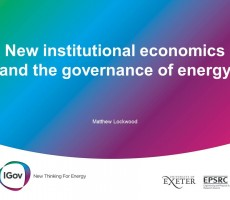 Presentation: New Institutional Economics and the Governance of Energy