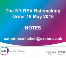 Notes on the NY REV Ratemaking Order 19 May 2016